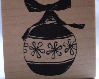 striped retro round shiny brite ornament rubber stamp
