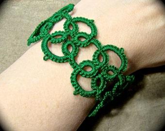 Tatted Lace Bracelet - Quadra - Green