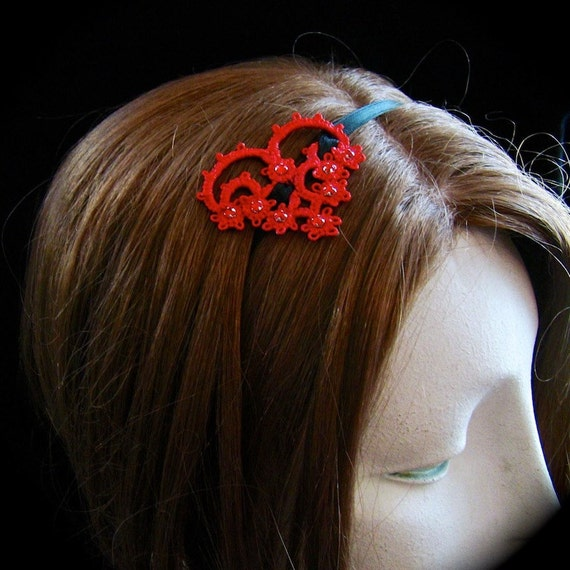Tatted Lace Ribbon Headband - With All My Heart - True Red