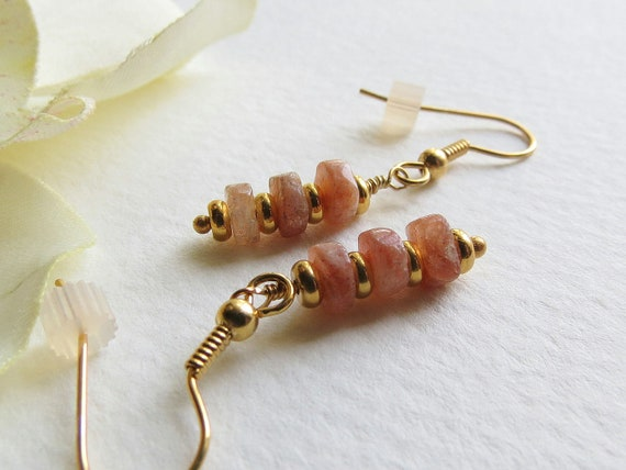 Jewelry Handmade, Dangle Earrings, Lovely Sunstone and Gold Filled Findings, Statteam