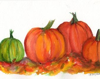 Pumpkins watercolors paintings original 5 x 7 kitchen wall decor, vegetables watercolor painting, pumpkin painting, kitchen decor, food art
