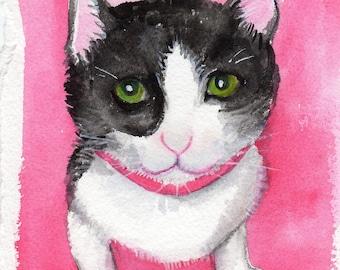 Cat watercolor painting - Cat Painting, cat watercolor painting of Tuxedo cat, black and white cat painting, original 5 x 7