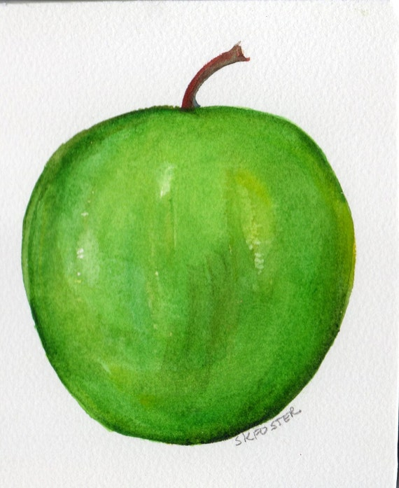 Granny Smith Apple Mini Original Watercolor Painting