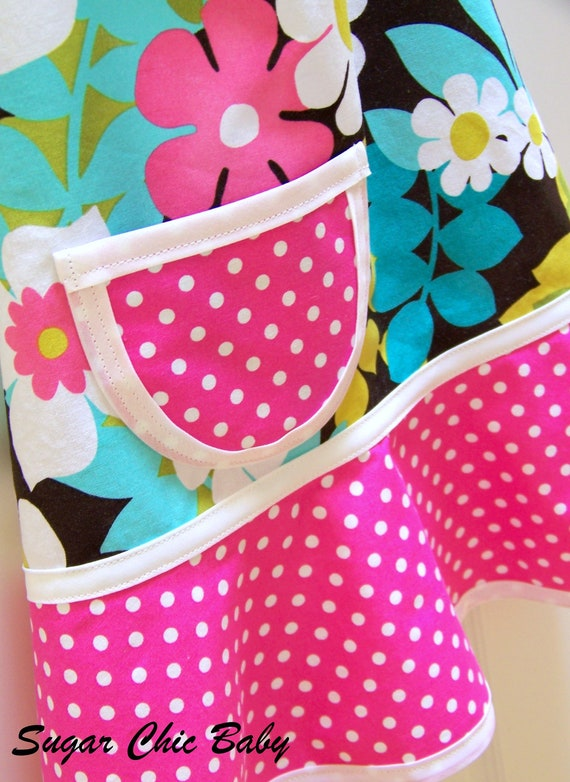 APRON Girls Child Children's Kids Toddler  Teen - Piccadilly Floral & Fuchsia Pink Polka Dots - LAST ONE