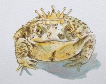 Toad Art Frog Prince of Toads Watercolor Fine Art Print