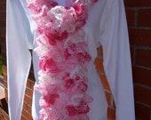 Handmade Knit Ruffle Scarf TUTU White Pale pink Light Pink Dark Pink Silver    FREE SHIPPING