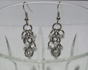 Shaggy Chainmaille Earrings with White Beads