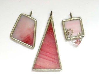 Pink Stained Glass Pendants - Lot Of 3
