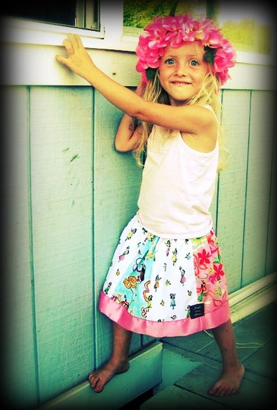 CUSTOM Luau Twirly Skirt PATCHWORK Hawaiiana prints Sizes 3 months to 7 years