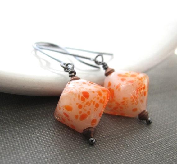 Silver Earrings, White Orange Glass, Orange Dots, Glass Earrings, Sterling Silver, Silver Jewelry, Lampwork Glass