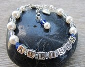 For Angie Baby Name Bracelet Swarovski Pearl Crystal Sterling Silver Letters Baptism Christening or Birth