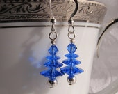Sapphire Blue Christmas Trees with Swarovski Crystals and Sterling Earrings