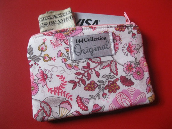 Pink Coin Purse, Floral Pink Coin Wallet, Mabel Tana Lawn Pink Floral Liberty of London Fabric Change Purse, Small Wallet, Zipper Pouch