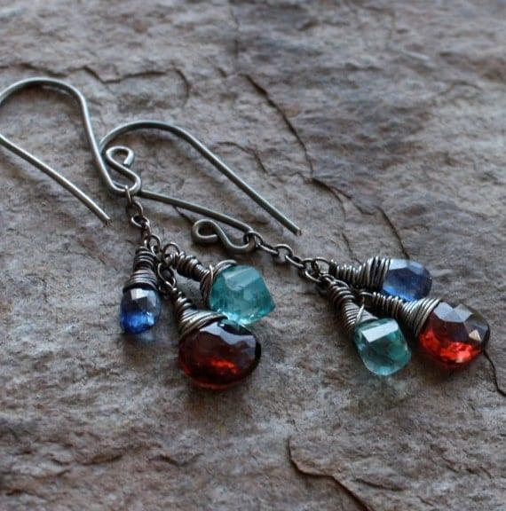 HOLIDAY Sale-Multi GEMSTONE earrings, blue KYANITE earrings, Garnet earrings, Apatite earrings