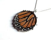 Real Monarch Butterfly Wing Necklace - Circle Pendant