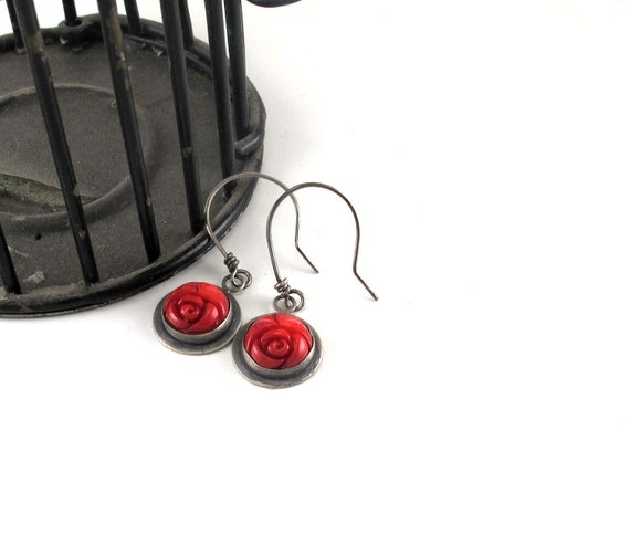 Rosette Earrings - Sterling Silver and Carved Coral