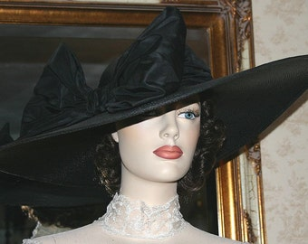 "Kentucky Derby Hat Edwardian Hat Ascot Hat Tea Party Hat Wide Brim Hat ""Titanic"" Black Hat"