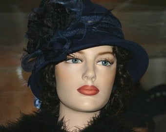 Flapper Hat Cloche Hat Edwardian Style Hat Downton Abbey Hat Church Hat - Mademoiselle Sigrid