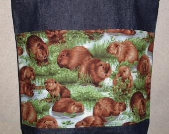 New Large Handmade Beaver Nature Wildlife Denim Tote Bag
