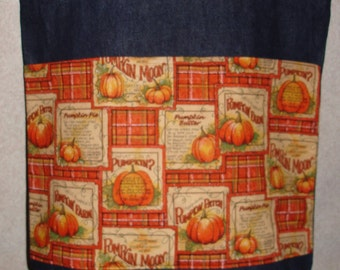 New Large Handmade Pumpkin Plaid Squares Denim Tote Bag