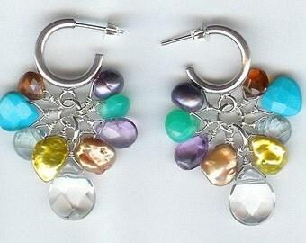 Rock Crystal Quartz And Multi Gem Earrings FD267C