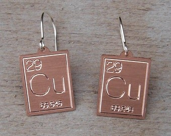 Atomic Symbol for Copper Earrings, Periodic Table Science Jewelry, Science Earrings, Chemist, Chemistry Science Teacher Gift, Copper Jewelry