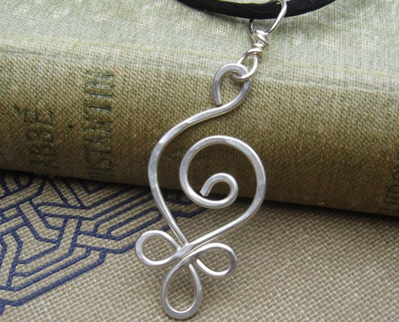 Budding Spiral Necklace, Celtic Sterling Silver Pendant, Celtic Jewelry, Celtic Necklace, Hammered Silver Wire Jewelry, Women