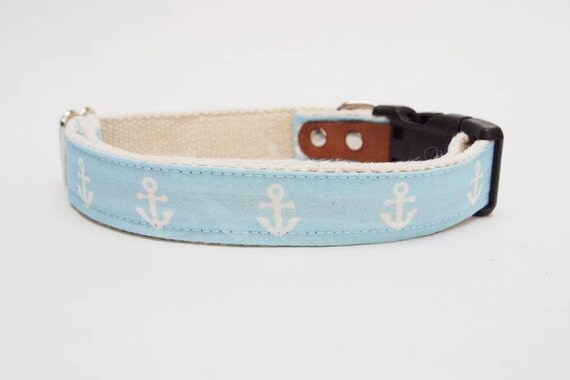 Light Blue Anchors Hemp Dog Collar.  Hemp and leather.