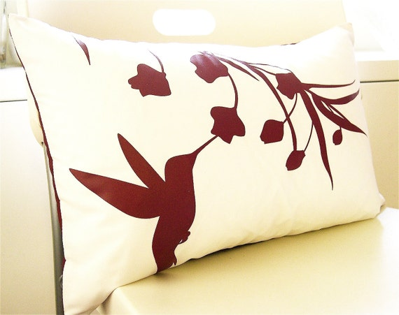 Sale Burgundy Red Print on Off White Cotton Hummingbird with Eucalyptus Rectangle Pillow