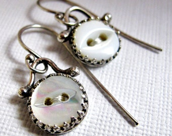 Mother Of Pearl Button Earrings, Sterling Silver and Vintage Button