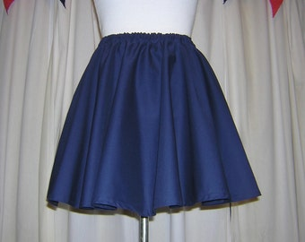 Navy Blue Circle Skirt Custom Made Pinup Womens Skirt dance Cotton Full Skirt