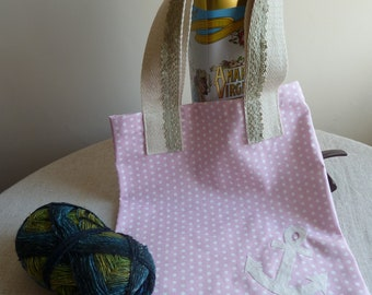 Recycled sail and lace pink polka dot tote bag or project bag