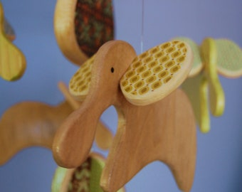 Baby Mobile Elephants - Green and Brown - Mobile for a Modern Nursery or Play Room