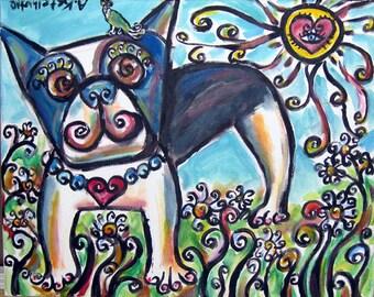 Boston Terrier love flowers whimsical original dog painting