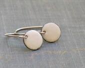 minimal drops- small white enameled disc earrings