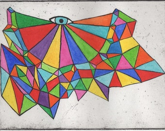Geometric Etching original hand-pulled print with watercolor