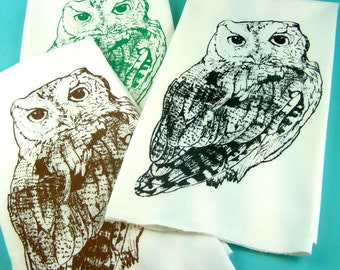 Owls Kitchen Towel Owl Printed Tea Towels - CUTE screen print retro kitchen Indie Housewares
