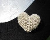 Heart Pin Crochet Puff Heart Pin