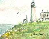 ACEO Original Watercolor Painting PEMAQUID POINT  by Sant'Agata