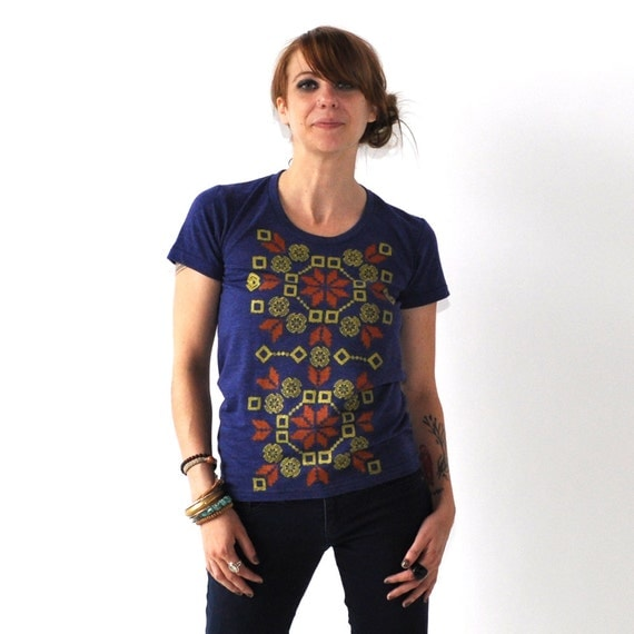 SALE Squash Blossom, Folk Design, Indigo Tri-Blend Tee, Hand Screen Printed by Maryink