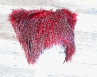 Faux Fur Hat - Black Cherry - Red Black Grizzly hairs KOZY KITTY Ski Bunny warm winter Men Women fuzzy hat woman cat hat Christmas cutie