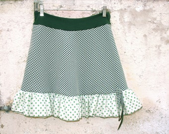 Double Green Dots Skirt Sm from vintage fabric 1970s polka dots army green textured 1960s doubleknit womens upcycled clothing eco friendly