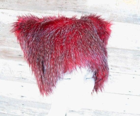Faux Fur Hat - Black Cherry - Red Black Grizzly hairs KOZY KITTY Ski Bunny warm winter Men Women fuzzy hat woman cat hat Christmas cutie