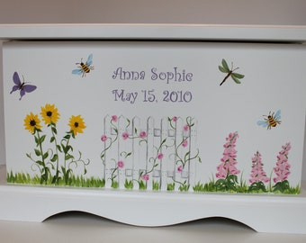 Garden of Flowers baby keepsake chest memory box personalized baby gift hand painted