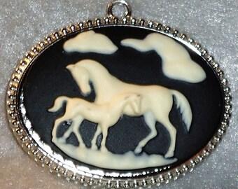 """Equestrian Mare & Foal Pendant Black and White 2"""""""