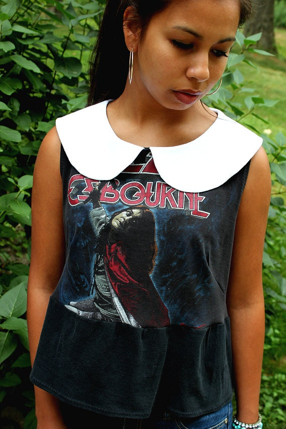 REVIVAL OOAK Upcycled Shirt/Top, Peter Pan Collar, Small/Medium, Rock Tshirt, Ozzy Osbourne, EcoFriendly, Repurposed Clothing