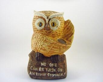 Vintage Owl Utensil Holder - Retro Kitchen Decor - 1970's Tan and Brown