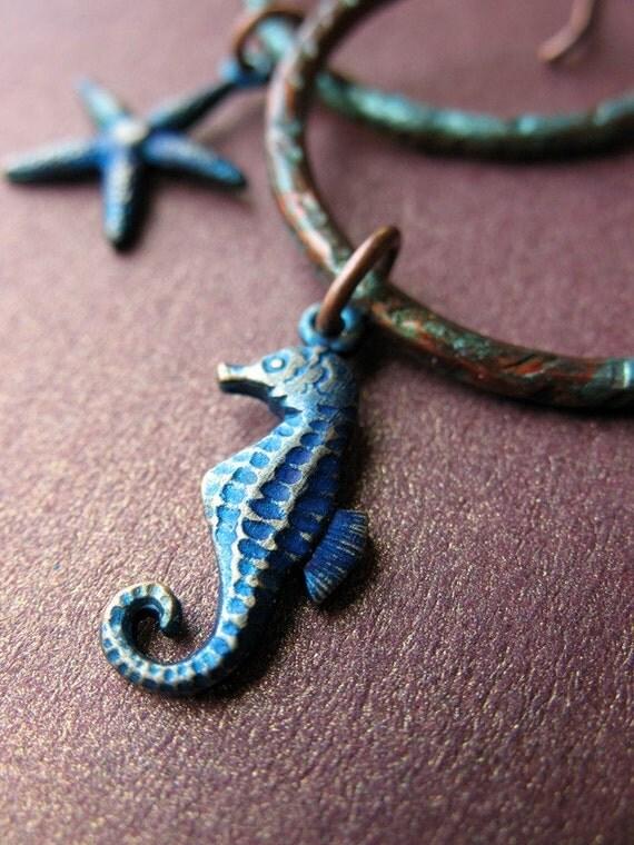 Sea Life Circle Earrings - Patina Copper Charm Jewelry