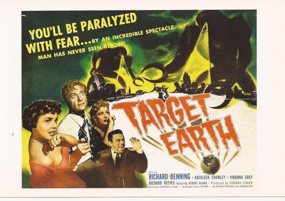 B Movie Postcard- Target Earth - 1954 schlock horror cult film repro movie poster