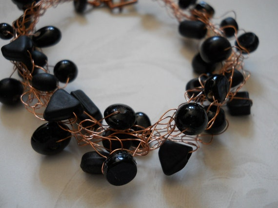 SOLD! Copper & Black Beaded Wire Crochet Bracelet